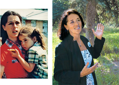 Then And Now Lois Gibbs, a homeowner and activist, shows a tree that marks the site of her former home; above, she holds her daughter in 1978.