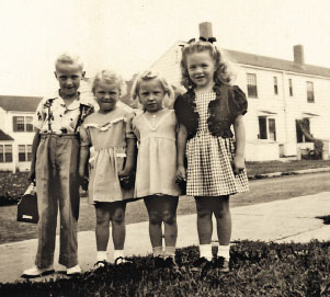 Going To School Sylvia Jean Gondek (right) and other neighborhood kids are ready for their first day of school in the late 1940s. They used Love Canal as a playground.