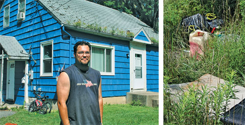 American Dream? George Kreutz (far left) and his family have a view of Love Canal from their backyard; (left) illegal dumping in his backyard.