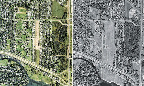 Homeless Love Canal in 1980 (left) and 2002, after homes were razed.