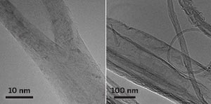 CAUGHT IN THE ACT These micrographs show that a new chemical method splits open multiwalled carbon nanotubes lengthwise (left) to yield flat graphene nanoribbons (large structure at right).