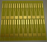 SIMPLE SENSOR This glass chip can spot a parasite infection when antibodies bind to the electrodes.