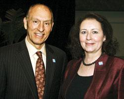 Kavli Foundation President Robert W. Conn (left) and ACS President Nancy B. Jackson.