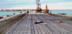 NANOSTRUCTURED STEEL MMFX 2 steel rebar, which resists corrosion because of its nanostructure, strenghtens the foundation of a bridge in Tarpon Springs, Fla.