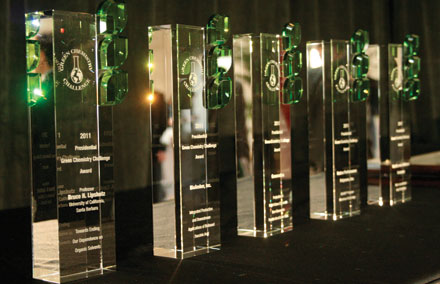 Green Benefits Decorative sculptures and prestige are the rewards garnered by Green Chemistry Award winners.
