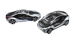 Electrifying: The BMW i8 (left), a hybrid electric vehicle, and the i3, a plug-in electric, are set to debut in 2013.