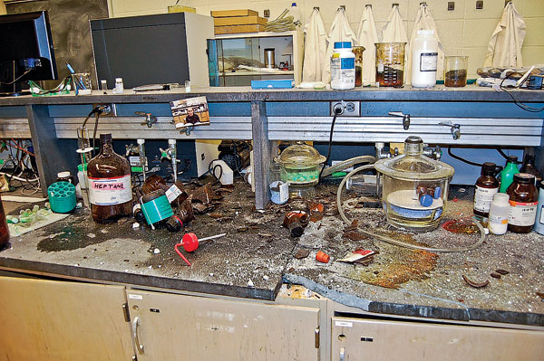 CHAOS: The explosion that injured Brown split the lab bench and damaged nearby equipment.