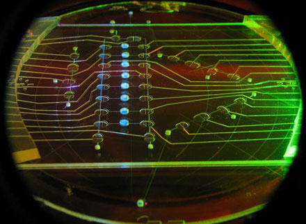 A single 10-cm microchip device performs all steps for analyzing amino acids.