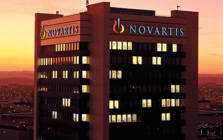 A Novartis building looms over the firm's campus in Basel.