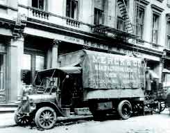 A Merck delivery truck in front of company headquarters in New York City, circa 1908