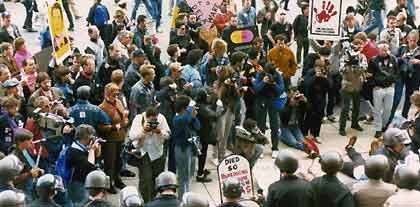 In 1988, the AIDS Coalition to Unleash Power (ACT-UP) organized a demonstration at FDA headquarters in Rockville, Md., to protest for increased access to and accelerated approval of treatments for AIDS.