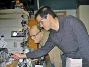 At the University of Minnesota, Carr (left) and Dwight R. Stoll use high-temperature two-dimensional HPLC to quickly separate complex mixtures.
