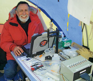 COLD ROOM Inside a tent in Antarctica, Kounaves analyzes data on soil samples.
