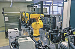 HIGH THROUGHPUT Robotic technologies make it possible to screen the biological activity of more than 1 million chemicals per day.