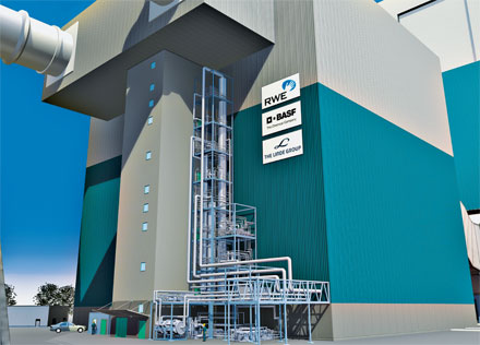 SCRUBBED CLEAN: BASF, RWE Power, and Linde are building a pilot plant to capture CO<sub>2</sub> from a coal-fired power plant.