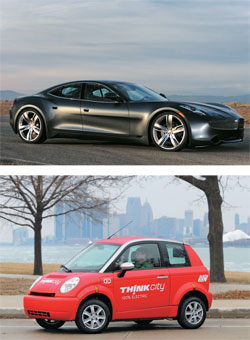 ALL ELECTRIC Ener1 will supply batteries for cars made by U.S.-based Fisker Automotive and Norway's Think. Pictured are Fisker's Karma (top) and Think's City (bottom).