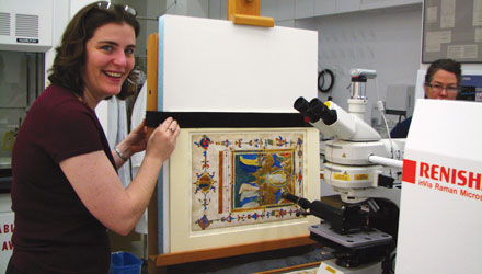 COOL JOB Schmidt uses Raman spectroscopy on a 14th-century manuscript from the J. Paul Getty Museums collection.