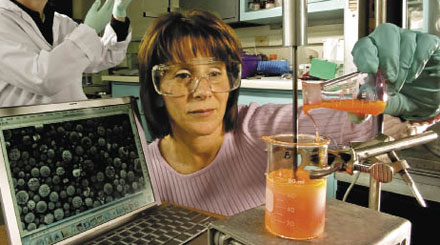 GOVERNMENT WORK: Argonne National Laboratory chemist mixes a coating for synthesized polymer nanospheres.
