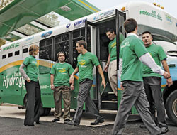 GREEN VOLUNTEERS: Generation Y employees at Air Products travel on a hydrogen-fueled bus to educate local schoolchildren on the benefits of this alternative fuel of the future. Pictured from left are Carla DeBonis, John Palazzolo, Bossert, Jamie Ralph, Dan Krinsky, and Derek Reinhard.