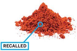 "U.K., 2005: Worcester sauce containing chili powder contaminated with a carcinogenic red azo ""Sudan"" dye was recalled in the U.K. in 2005."
