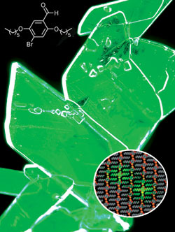 Radiant: A crystalline mixture of bromobenzaldehyde and dibromobenzene compounds phosphoresces green after exposure to ultraviolet light. The inset shows the structural alignment of the molecules, with two bromobenzaldehydes glowing green.