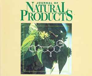 Cover for the Journal of Natural Products in 1996, the first year of copublication by ACS and ASP. The image shows the tree Camptotheca acuminata and the structure of the natural product camptothecin, which is isolated from the tree.