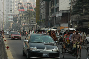 A Dhaka Street: A bustling metropolis of 12 million people, Bangladesh's capital, Dhaka, is refreshingly free of foreign visitors.