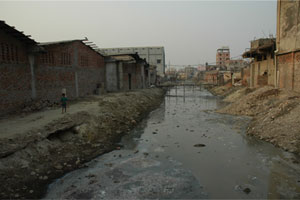 Washed Away: Water containing effluent from the leather-tanning process makes its way toward the Buriganga River.