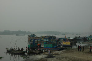 The River: In addition to being the recipient of untreated tannery waste, the Buriganga River is also polluted by Dhaka's sewage.