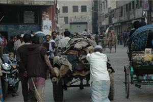 It Starts With Skins: Workers deliver raw hides in Hazaribagh.